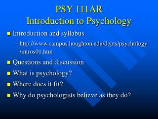 PSY 111AR  Introduction to Psychology