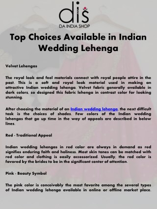 Top Choices Available in Indian Wedding Lehenga