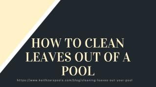 How to Clean Leaves Out Of Out of a Pool