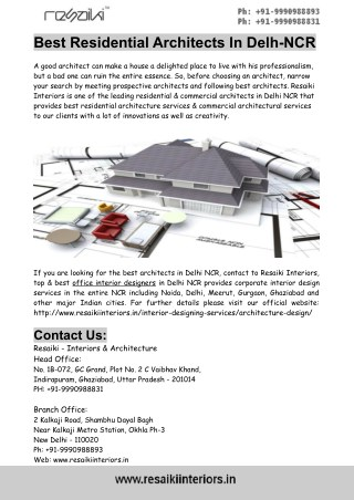 Best Residential Architects In Delh-NCR