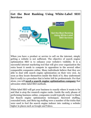 Get the Best Ranking Using White-Label SEO Services