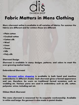 Fabric Matters in Mens Clothing