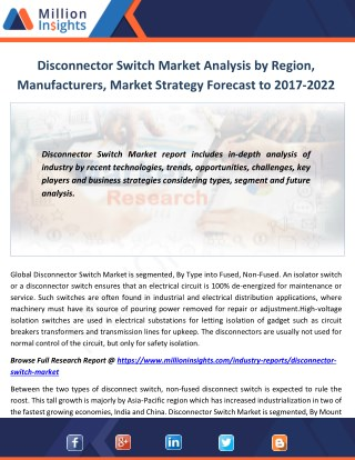 Disconnector Switch Market Analysis by Region, Manufacturers, Market Strategy Forecast to 2017-2022