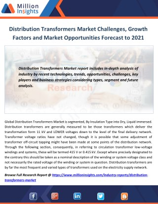 Distribution Transformers Market Challenges, Growth Factors and Market Opportunities Forecast to 2021
