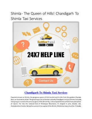 cab from chandigarh to shimla