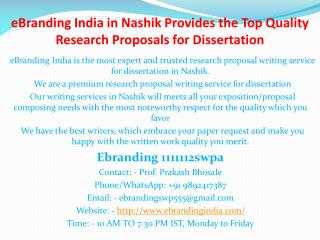 1.eBranding India in Nashik Provides the Top Quality Research Proposals for Dissertation