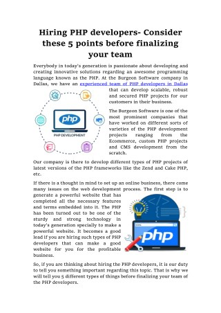 5 Important points you should consider before Hiring PHP developers in Dallas