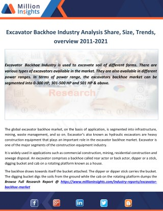 Excavator Backhoe Market by Applications, opportunities,Key Player Forecast 2011-2021