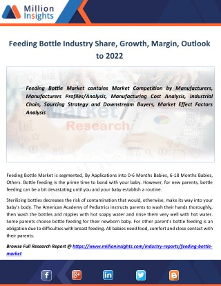 Feeding Bottle Market Trends, Analysis, Growth, Overview Outlook 2017-2022