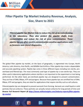 Filter Pipette Tip Market Shares, Strategies,Growth rate, Sales,Prize to 2021
