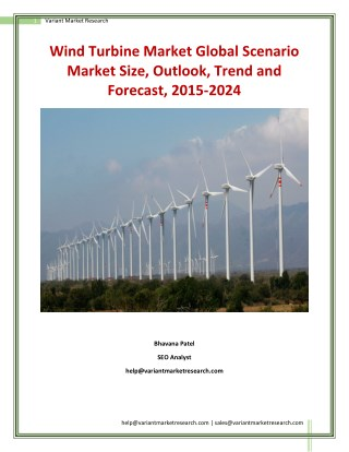 Wind Turbine Market Growth and Forecast up, 2015-2024 by Variant Market Research