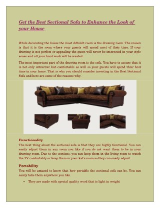 Get the Best Sectional Sofa to Enhance the Look of your House