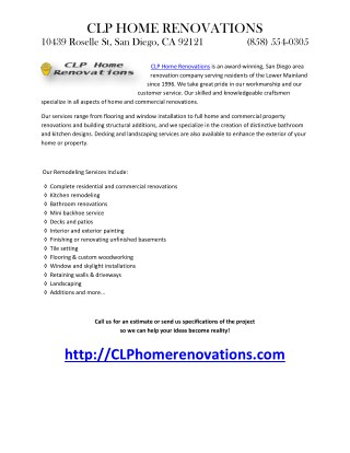 CLP Home Renovations is an award
