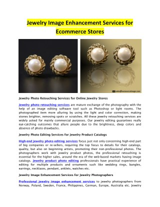 Jewelry Image Enhancement Services for Ecommerce Stores