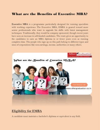 What are the Benefits of Executive MBA?