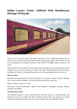 Indian Luxury Trains: Suffused With Reminiscent, Heritage Of Royalty