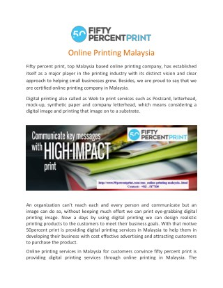 Online Printing Malaysia | Printing Services