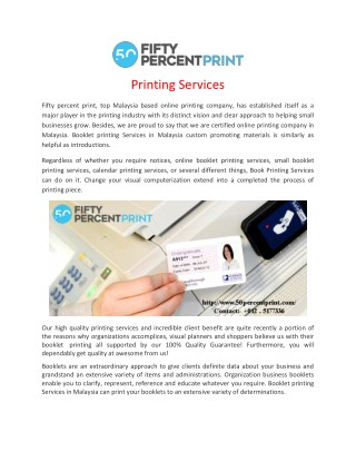 Printing Services | Business Cards Printing Malaysia | 50percent Print