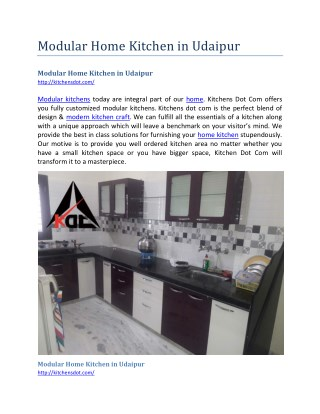 Modular Home Kitchen in Udaipur