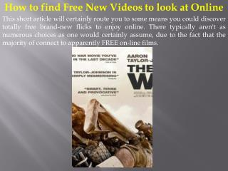 How to find Free New Videos to look at Online