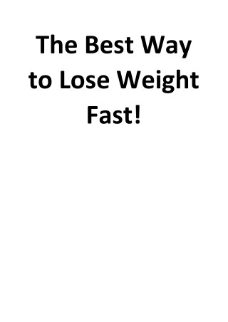 The Best Way to Lose Weight Fast