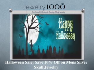 Halloween Sale Save 10% Off on Mens Silver Skull Jewelry.