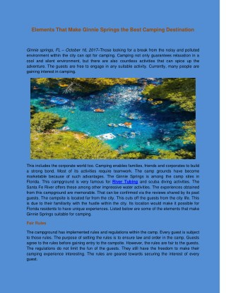 Elements That Make Ginnie Springs the Best Camping Destination