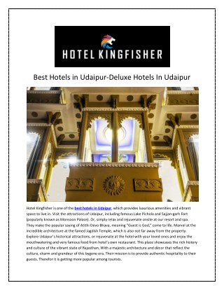 Best hotels in udaipur-Hotelking Fisher Udaipur