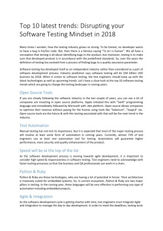Top 10 latest trends: Disrupting your Software Testing Mindset in 2018