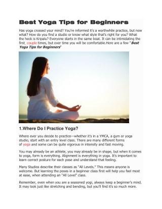 Best Yoga Tips for Beginners