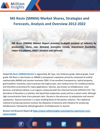 MS Resin (SMMA) Market Shares, Strategies and Forecasts, Analysis and Overview 2012-2022