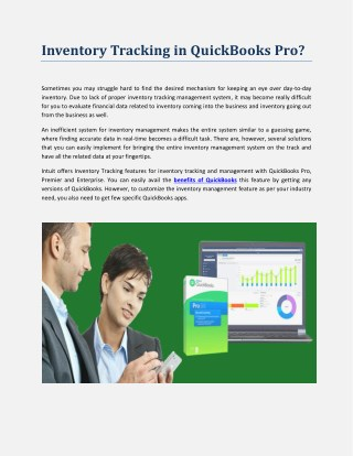Advantages of Tracking Inventory with QuickBooks Pro | QuickBooks Pro Hosting