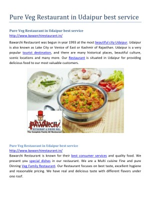 Pure Veg Restaurant in Udaipur best service