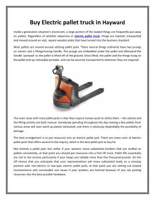 Buy Electric pallet truck in Hayward