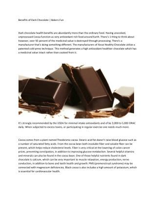Benefits of Dark Chocolate   Bakers Fun