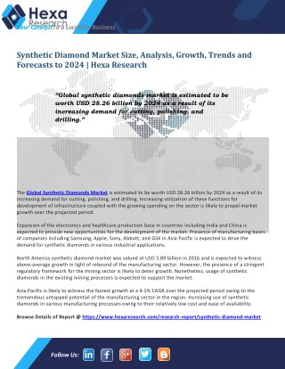 Synthetic Diamond Market Size, Share Growth and Forecast to 2024