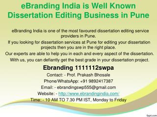 3.eBranding India is Well Known Dissertation Editing Business in Pune
