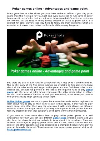 Poker games online - Advantages and game point