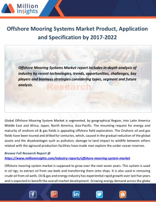 Offshore Mooring Systems Market Product, Application and Specification by 2017-2022