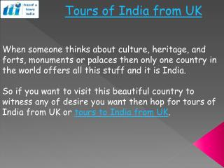 Tours of India from UK