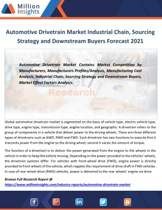 Automotive Drivetrain Market Analysis by Key Players, Applications and Type to 2021