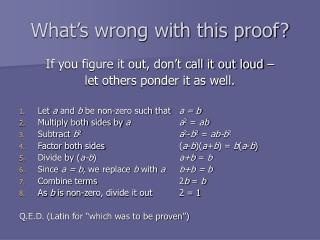 What s wrong with this proof