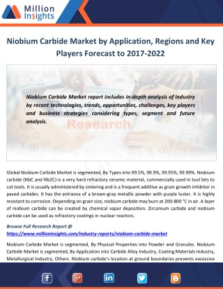 Niobium Carbide Market by Application, Regions and Key Players Forecast to 2017-2022