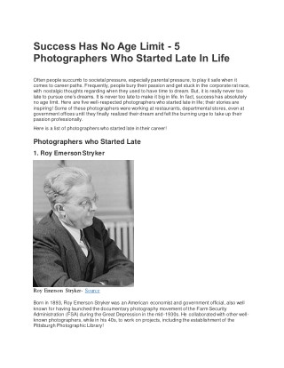 Success Has No Age Limit - 5 Photographers Who Started Late In Life