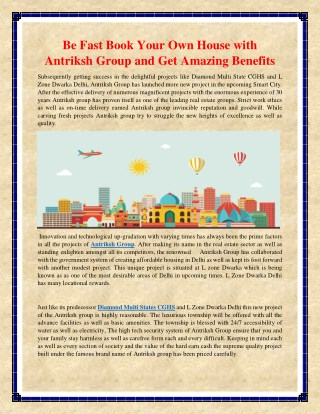 Be Fast Book Your Own House with Antriksh Group and Get Amazing Benefits