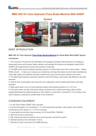 MB8 CNC 8 1 Axis Hydraulic Press Brake Machine With DA66T System