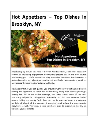 Hot Appetizers - Top Dishes in Brooklyn, NY