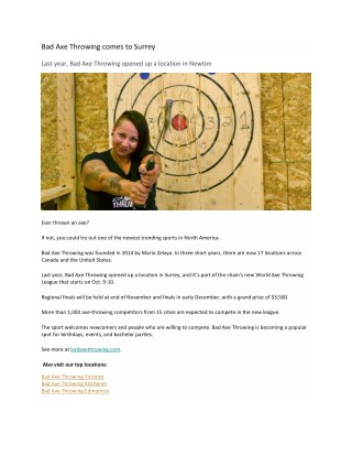 Bad Axe Throwing comes to Surrey