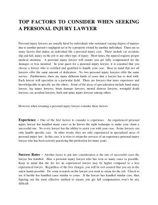 Top factors to consider when seeking a personal injury lawyer