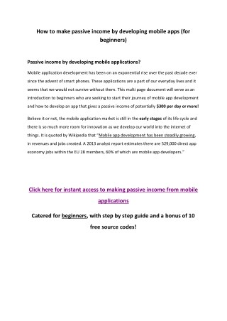 How to make passive income by developing mobile apps